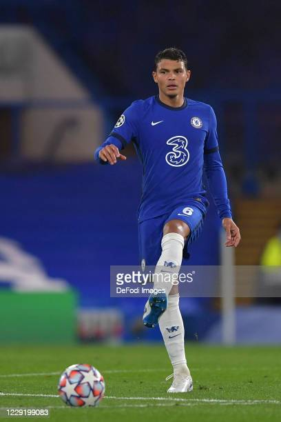 Thiago Silva of Chelsea controls the ball during the UEFA Champions League Group E stage match between Chelsea FC and FC Sevilla at Stamford Bridge...
