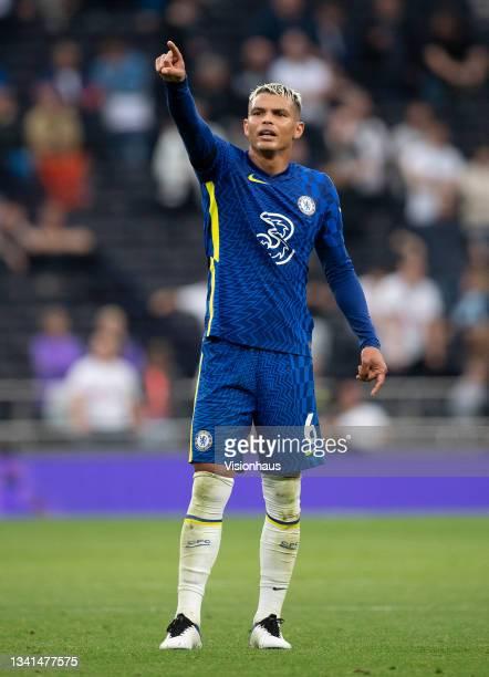 Thiago Silva of Chelsea during the Premier League match between Tottenham Hotspur and Chelsea at Tottenham Hotspur Stadium on September 19, 2021 in...