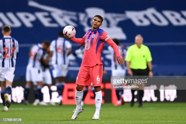 Thiago Silva of Chelsea looks dejected after making a mistake that lead to West Bromwich Albion's second goal during the Premier League match between...