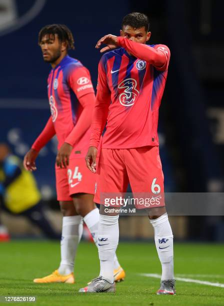 Thiago Silva of Chelsea looks on during the Premier League match between West Bromwich Albion and Chelsea at The Hawthorns on September 26 2020 in...