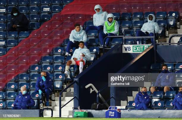 Thiago Silva of Chelsea looks on from the bench during the Premier League match between West Bromwich Albion and Chelsea at The Hawthorns on...
