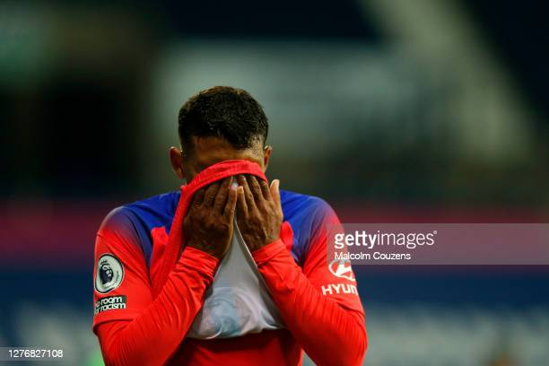 Thiago Silva of Chelsea reacts during the Premier League match between West Bromwich Albion and Chelsea at The Hawthorns on September 26 2020 in West...