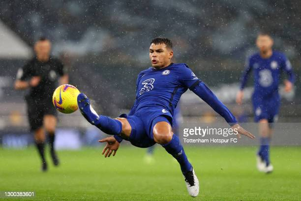 Thiago Silva of Chelsea stretches for the ball during the Premier League match between Tottenham Hotspur and Chelsea at Tottenham Hotspur Stadium on...