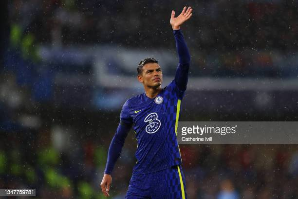 Thiago Silva of Chelsea waves to the crowd at full-time after the UEFA Champions League group H match between Chelsea FC and Malmo FF at Stamford...