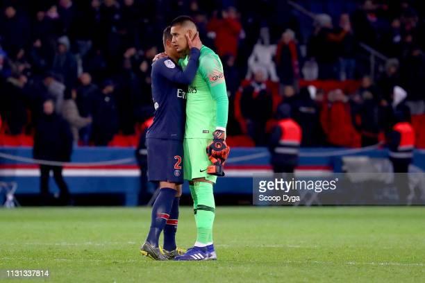 Thiago Silva of Paris Saint Germain and Alphonse Areola of Paris Saint Germain during the Ligue 1 match between Paris Saint Germain and Marseille at...