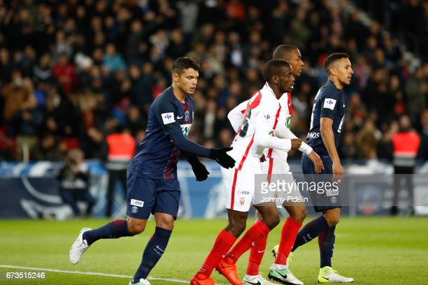 Thiago Silva of Paris Saint Germain comfort Safwan Mbae of Monaco after his owngoal during the Semi final of the French Cup match between Paris...