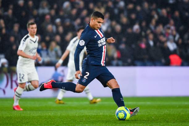 Thiago SILVA of Paris Saint Germain during the Ligue 1 match between Paris SaintGermain and Girondins Bordeaux at Parc des Princes on February 23...
