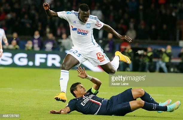 Thiago Silva of Paris Saint-Germain and Benjamin Mendy of Olympique de marseille in action during the French Ligue 1 between Paris Saint-Germain FC...