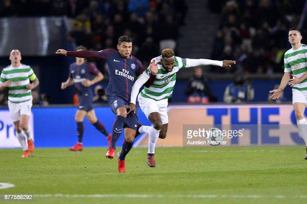 Thiago Silva of Paris SaintGermain and Moussa Dembele of Celtic Glasgow fight for the ball during warmup before the UEFA Champions League group B...