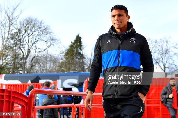 Thiago Silva of Paris SaintGermain arrives to the stadium before the French Cup match between Dijon and Paris at Stade Gaston Gerard on February 12...