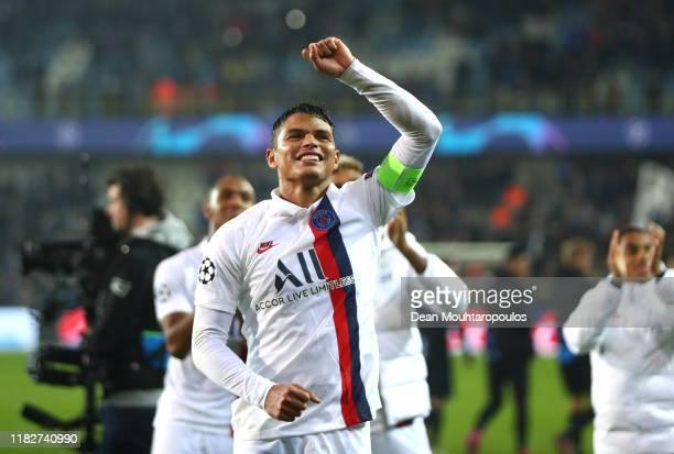 Thiago Silva of Paris SaintGermain celebrates following the UEFA Champions League group A match between Club Brugge KV and Paris SaintGermain at Jan...