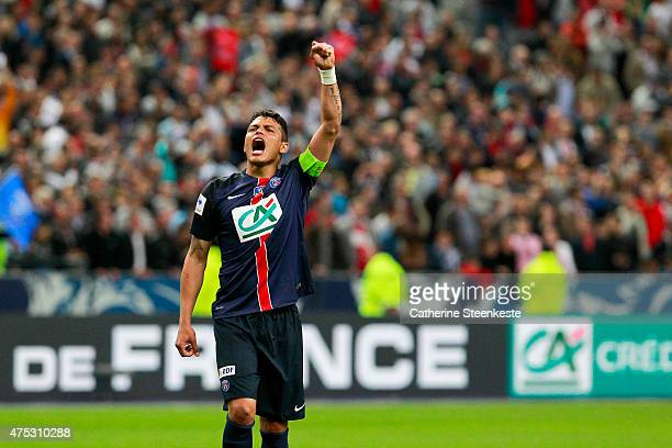 Thiago Silva of Paris SaintGermain celebrates the victory of the French Cup Final between AJ Auxerre and Paris SaintGermain at Stade de France on May...
