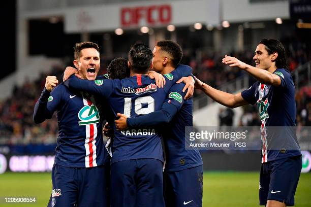 Thiago Silva of Paris SaintGermain is congratulated by teammates Ander Herrera Pablo Sarabia Thilo Kehrer and Edinson Cavani after scoring during the...