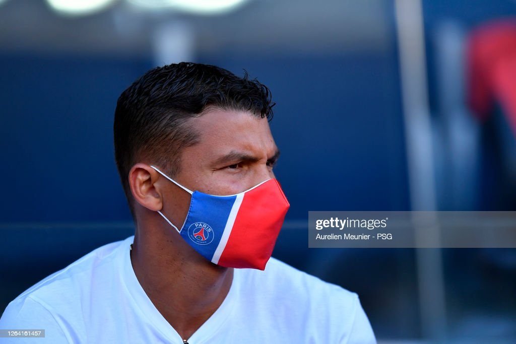 Thiago Silva Of Paris Saint Germain Looks On Wearing A Face Mask As News Photo Getty Images