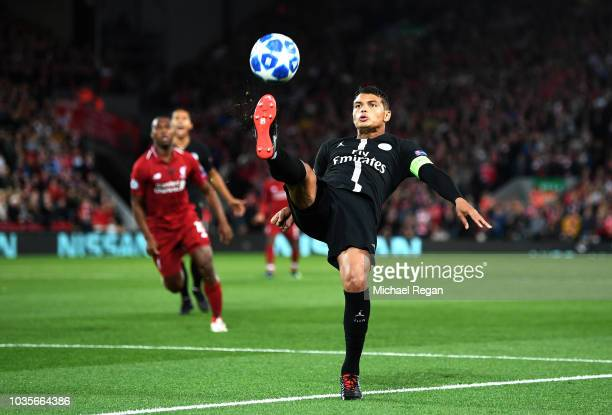 Thiago Silva of Paris SaintGermain looks to control the ball during the Group C match of the UEFA Champions League between Liverpool and Paris...
