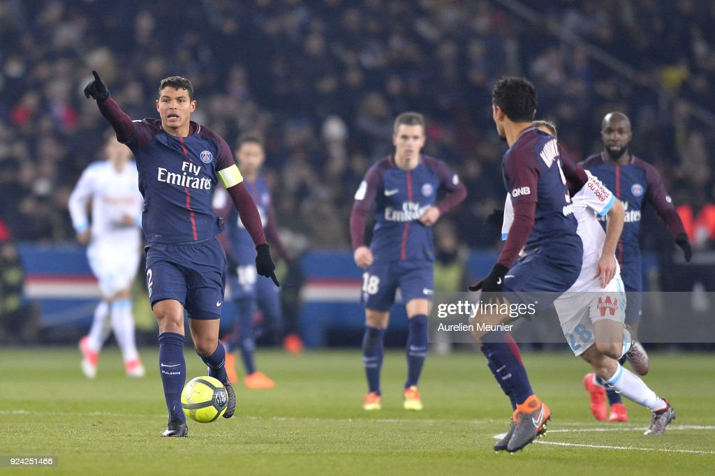 Thiago Silva of Paris Saint-Germain reacts as he runs with the ball the ball during the Ligue 1 match between Paris Saint Germain and Olympique Marseille February 25, 2018 in Paris, France.
