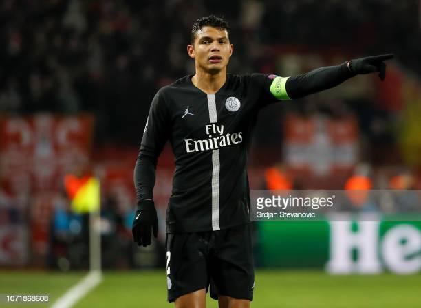 Thiago Silva of Paris SaintGermain reacts during the UEFA Champions League Group C match between Red Star Belgrade and Paris SaintGermain at Rajko...