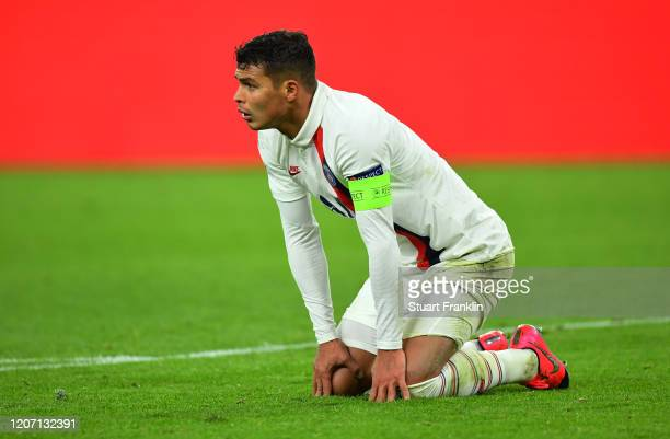 Thiago Silva of Paris SaintGermain reacts to Borussia Dortmund scoring there second goal during the UEFA Champions League round of 16 first leg match...