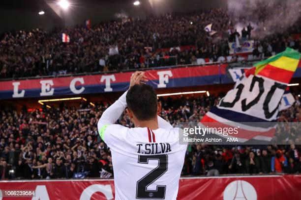 Thiago Silva of Paris SaintGermain salutes the fans at the end of the Group C match of the UEFA Champions League between Paris SaintGermain and...