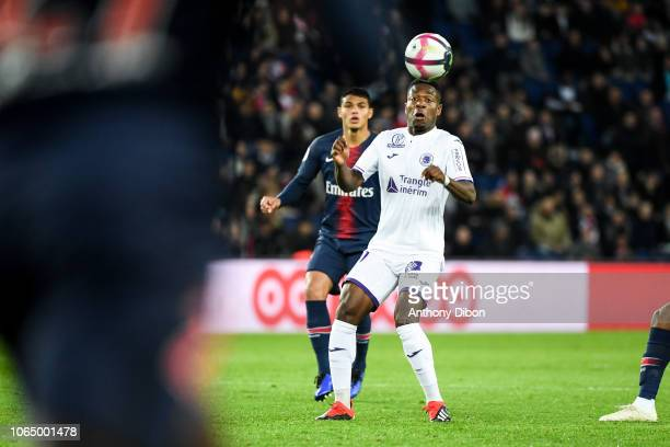 Thiago Silva of PSG and Aaron Leya Iseka of Toulouse during the Ligue 1 match between Paris Saint Germain and Toulouse at Parc des Princes on...
