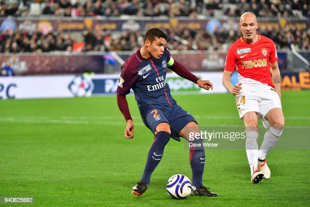 Thiago Silva of PSG and Andrea Raggi of Monaco during the Final of the French League Cup between Paris Saint Germain and AS Monaco on March 31 2018...