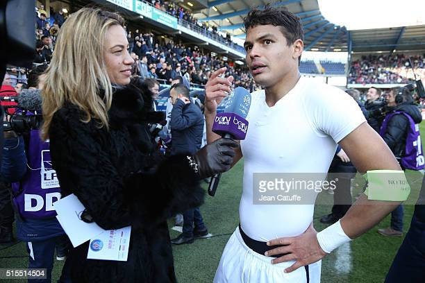Thiago Silva of PSG answers to AnneLaure Bonnet of beIN Sport following the French Ligue 1 match between ESTAC Troyes and Paris SaintGermain at Stade...