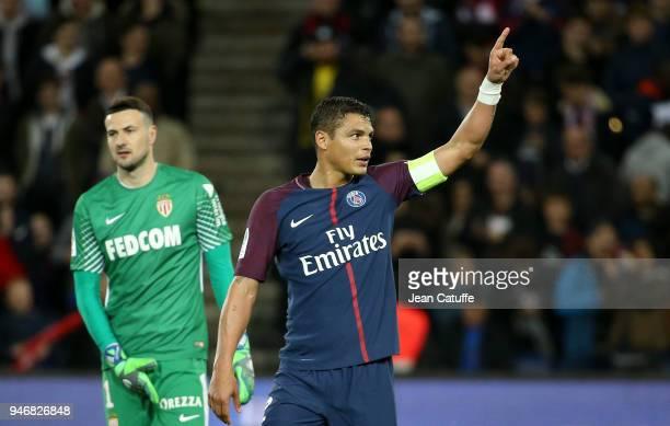 Thiago Silva of PSG celebrates a goal while goalkeeper of Monaco Danijel Subasic looks on during the Ligue 1 match between Paris Saint Germain and AS...
