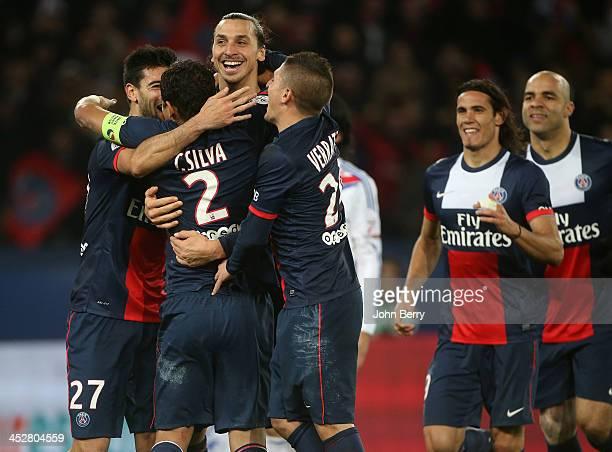 Thiago Silva of PSG celebrates his goal with teammates Zlatan Ibrahimovic Marco Verratti Edinson Cavani Alex Dias Da Costa during the french Ligue 1...