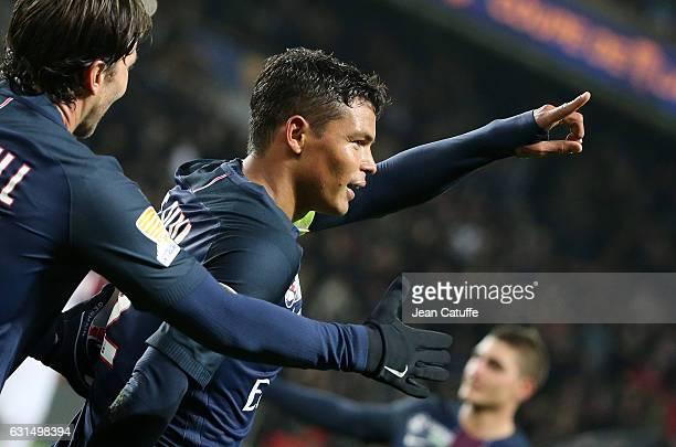 Thiago Silva of PSG celebrates his second goal during the French League Cup match between Paris Saint-Germain and FC Metz at Parc des Princes stadium...