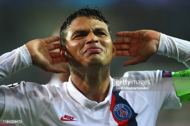 Thiago Silva of PSG celebrates victory with the fans after the UEFA Champions League group A match between Club Brugge KV and Paris SaintGermain at...