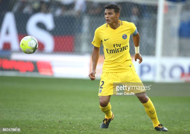 Thiago Silva of PSG during the French Ligue 1 match between Montpellier Herault SC and Paris Saint Germain at Stade de la Mosson on September 23 2017...