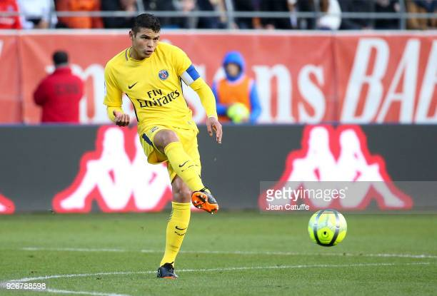 Thiago Silva of PSG during the Ligue 1 match between ESTAC Troyes and Paris Saint Germain at Stade de l'Aube on March 3 2018 in Troyes France