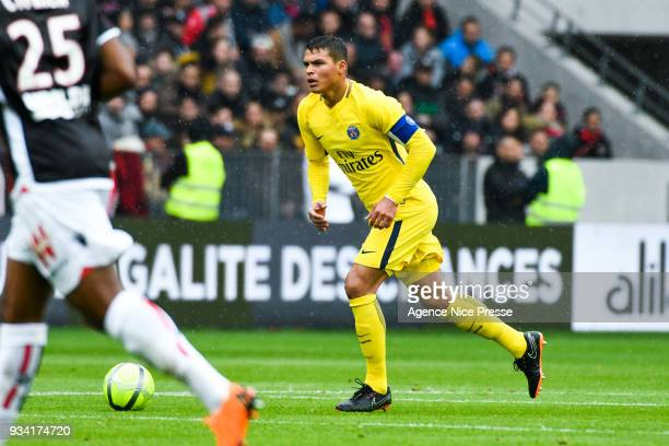 Thiago Silva of PSG during the Ligue 1 match between OGC Nice and Paris Saint Germain at Allianz Riviera on March 18 2018 in Nice