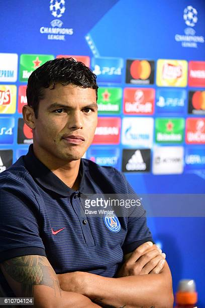 Thiago Silva of PSG during the Paris Saint Germain press conference ahead of the Champions League match against Ludogorets at Vasil Levski National...