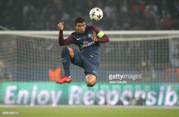 Thiago Silva of PSG during the UEFA Champions League Round of 16 Second Leg match between Paris SaintGermain and Real Madrid at Parc des Princes...
