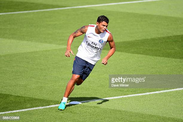 Thiago Silva of PSG during training and press conference of Paris Saint Germain on August 11 2016 in Paris France