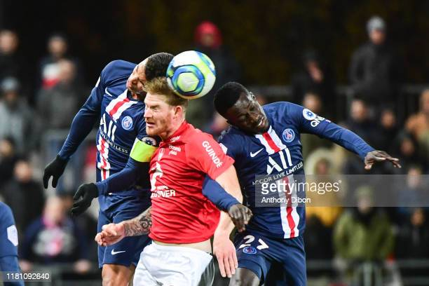 Thiago SILVA of PSG Gaetan CHARBONNIER of Brest and Idrissa GUEYE of PSG during the Ligue 1 match between Brest and Paris Saint Germain at Stade...
