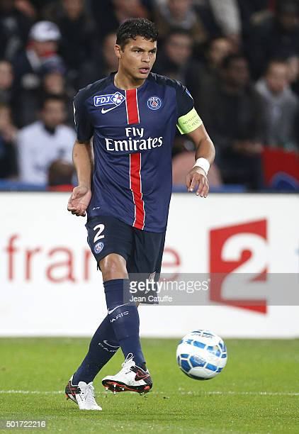 Thiago Silva of PSG in action during the French League Cup match between Paris SaintGermain and AS SaintEtienne at Parc des Princes stadium on...