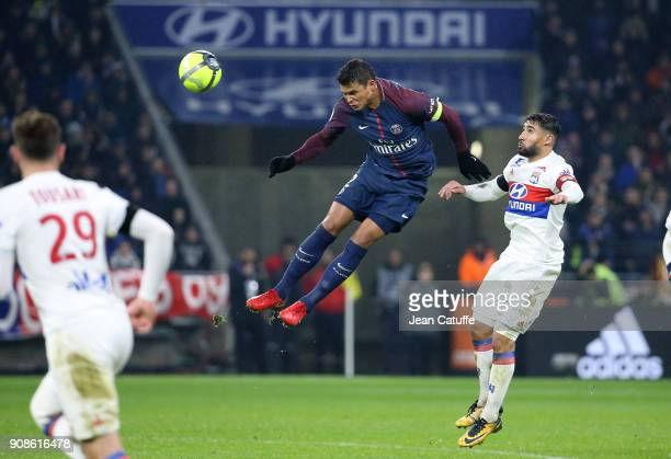 Thiago Silva of PSG Nabil Fekir of Lyon during the French Ligue 1 match between Olympique Lyonnais and Paris Saint Germain at Groupama Stadium on...
