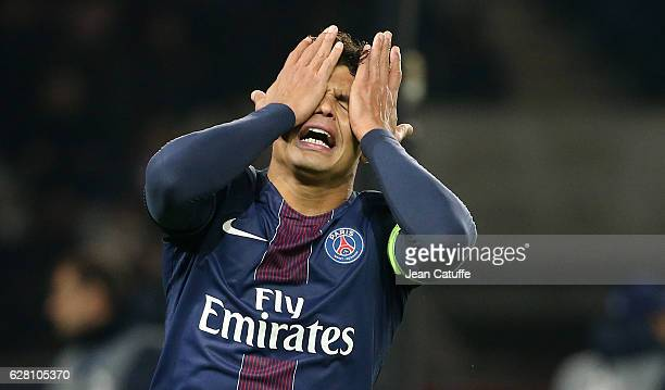 Thiago Silva of PSG reacts after missing a goal during the UEFA Champions League match between Paris SaintGermain and PFC Ludogorets Razgrad at Parc...
