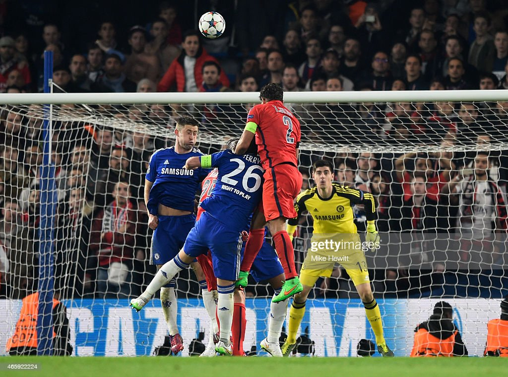 Thiago Silva #2 of PSG rises above John Terry of Chelsea to score a goal to level the scores at 2-2 during the UEFA Champions League Round of 16, second leg match between Chelsea and Paris Saint-Germain at Stamford Bridge on March 11, 2015 in London, England.