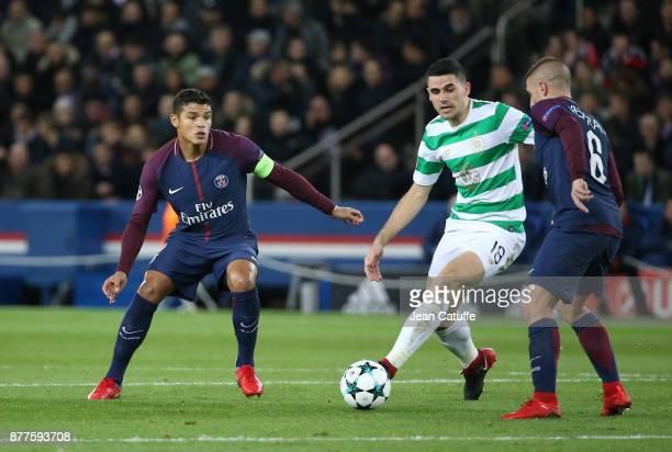 Thiago Silva of PSG Tom Rogic of Celtic Glasgow Marco Verratti of PSG during the UEFA Champions League group B match between Paris SaintGermain and...