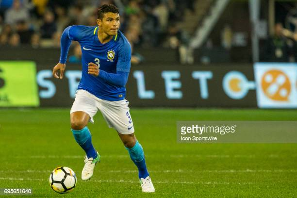 Thiago Silva of the Brazilian National Football Team runs with the ball during the International Friendly Match Between Brazilian National Football...