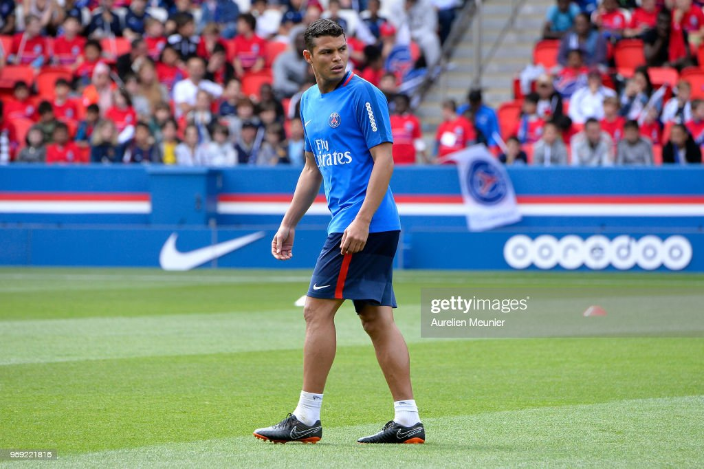 Thiago Silva reacts during a Paris Saint-Germain training session at Parc des Princes on May 16, 2018 in Paris, France.