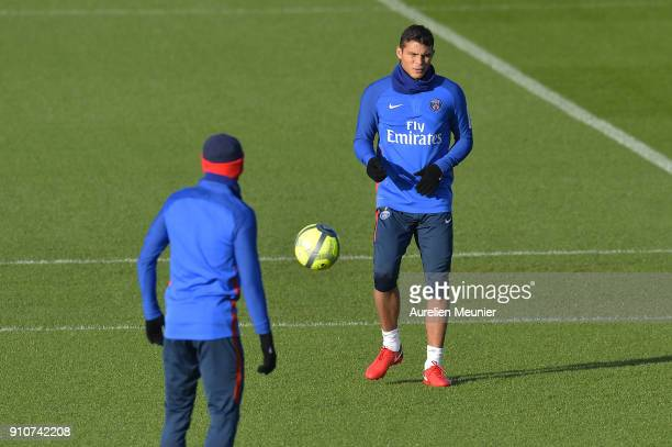 Thiago Silva warms up during a training session of Paris Saint Germain PSG at Camp des Loges on January 26 2018 in Paris France