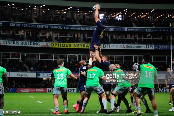 Thibaud LANEN of Clermont during the European Rugby Champions Cup Pool 3 match between ASM Clermont Auvergne and Harlequin FC on November 16 2019 in...