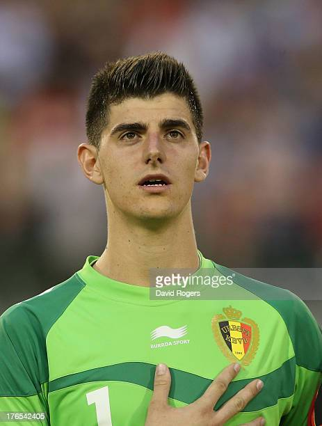 Thibault Courtois of Belgium lines up prior to the International friendly match between Belgium and France at the King Baudouin Stadium on August 14...