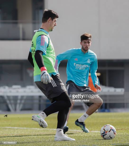 Thibault Courtois of Real Madrid takes part in a training session at Valdebebas training ground on February 17, 2021 in Madrid, Spain.