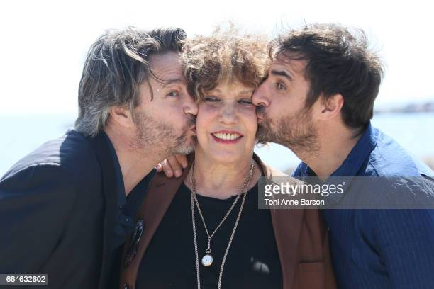 Thibault de Montalembert Gregory Montel and Liliane Rovere attend 'Call My Agent' Photocall during MIPTV 2017 on April 4 2017 in Cannes France