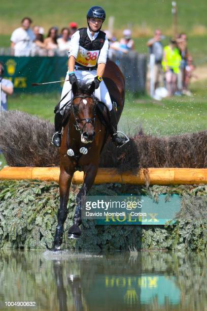 Thibault Fournier of France riding Siniani de Lathus during the obstacle in the water of the Cross Country test DHLPrize in the park of the CHIO of...